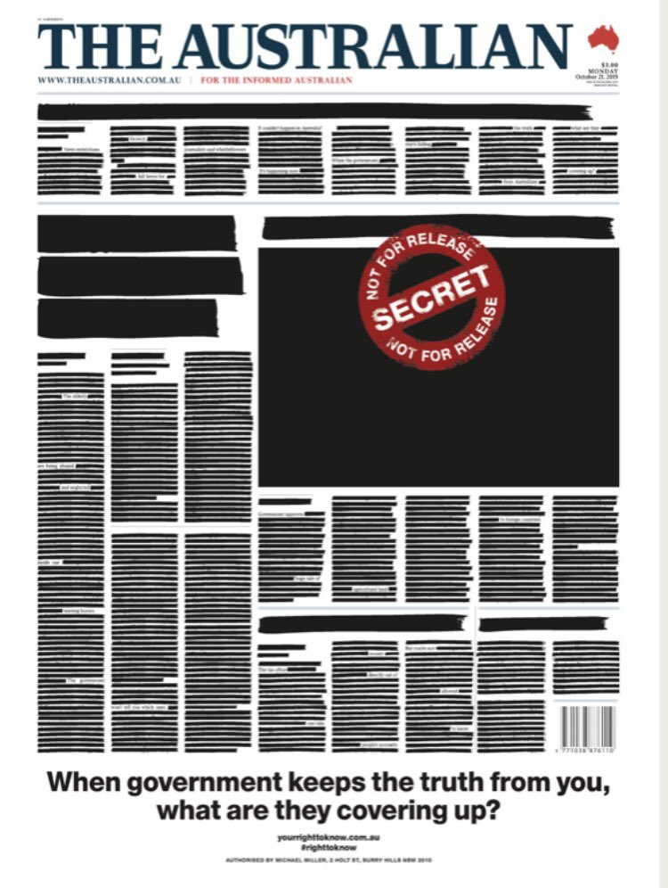 Front page of tomorrow's @australian. #auspol #righttoknow
