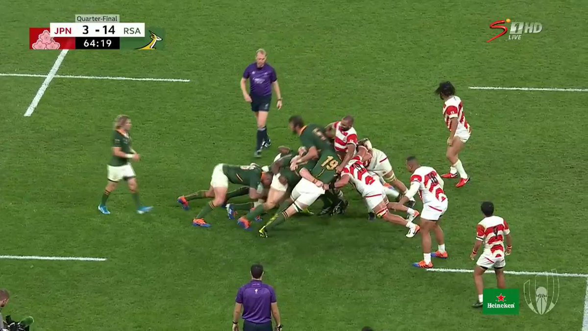 If #StrongerTogether was a try 👏💪🤗 Its just ridiculous as the @Springboks maul Japan 40 metres back and Malcolm Marx offloads to Faf de Klerk who dives over for the try 🔥 Watch live: bit.ly/WatchRWC_. #RWC2019 #JPNvRSA