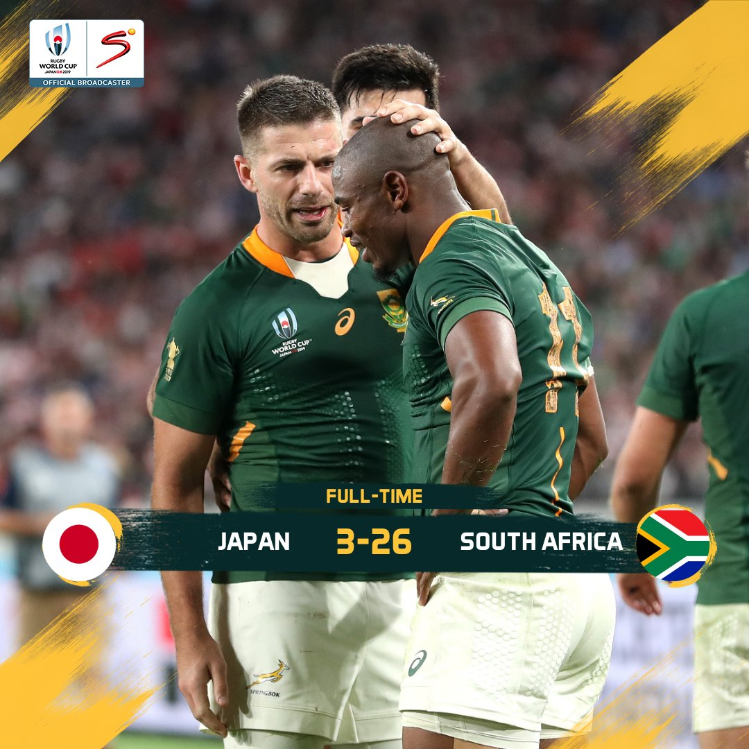 The @Springboks book their spot in the Rugby World Cup semi-finals   A dominant second-half from the Boks sees them defeat Japan 26-3 to set up a meeting against Wales in the semis. Thoughts on the game? #StrongerTogether  #RWC2019  #JPNvRSA<br>http://pic.twitter.com/FvqnZk2Vjc