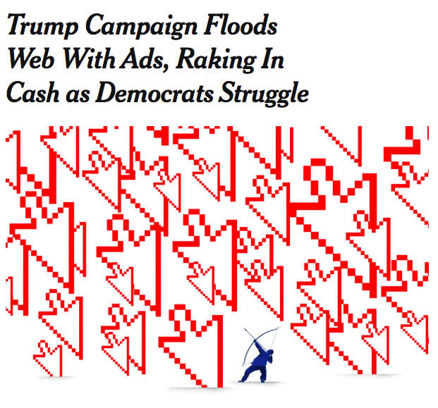 From NYT, a classic little-ole-us versus big-ole-them story. Not to be too obvious, but the little blue guy with bow and arrow symbolizes the Democratic Party, the House of Representatives, mainstream media, the academy, and Hollywood. The giant red arrows are the Trump campaign. <br>http://pic.twitter.com/DvPQNVq0ah