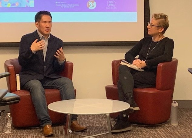 On 10/16, @cameronmyler of @nyutischsports led a discussion with Seth Berkman, author of @ateamoftheirown, a behind-the-scenes look at the first Unified Korean Olympic women's hockey team, which competed at the 2018 Winter Games in PyeongChang. https://t.co/BaM4tD4CeZ