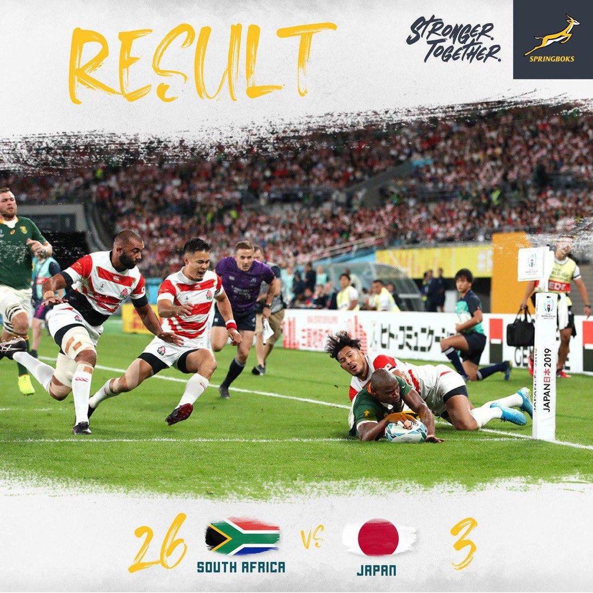 What a match!    Arigatōgozaimashita Japan! You guys can be extremely proud of your team! They played with honour and put their bodies on the line for you!  #StrongerTogether  #RWC2019  #JPNvRSA <br>http://pic.twitter.com/Pg4XcBmP4v