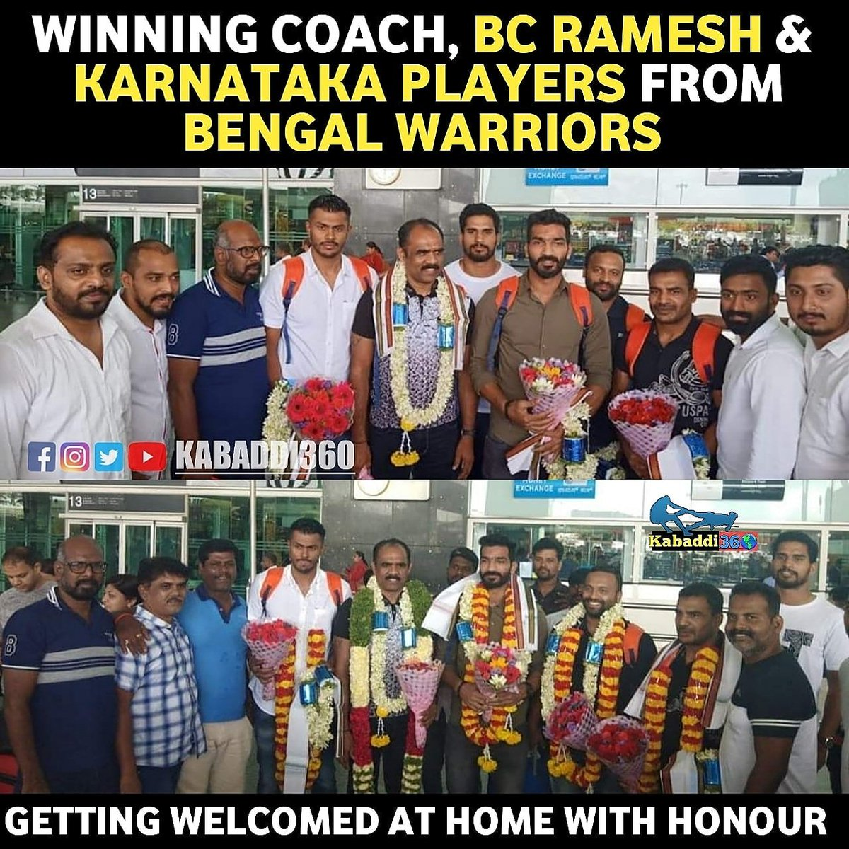 The native players & winning coach BC Ramesh were greeted at the Bangalore Airport today!  #BCRamesh  #BengalWarriors  #PKLChampions #IsseToughKuchNahi  #PKLWithKabaddi360