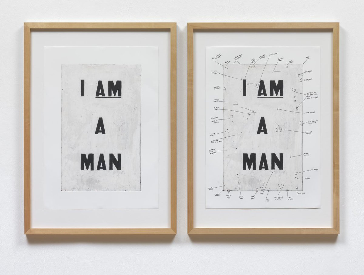 This artwork is titled Condition Report by Glenn Ligon. Two framed prints side by side that read 'I am a man' with the am underlined. One is annotated and one isn't.