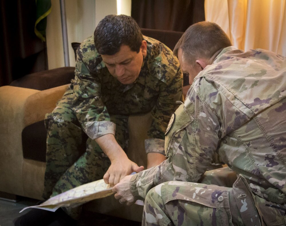 Gen. Mazloum has decided to stay with his fighters. He has sent Ilham Ahmed, SDC President, to DC as his envoy. A Kurdish source told @laraseligman   #KurdsBetrayedByTrump #Kurds<br>http://pic.twitter.com/SFSB7ZHku3