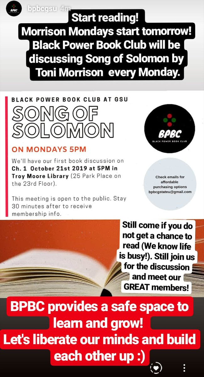 We're starting book club tomorrow! We're reading #SongofSolomon by #ToniMorrison every Monday at 5PM.   Future book club meetings will be private so don't miss the opportunity to become a member by receiving membershp info at one of our public events.  #GeorgiaStateUniversity