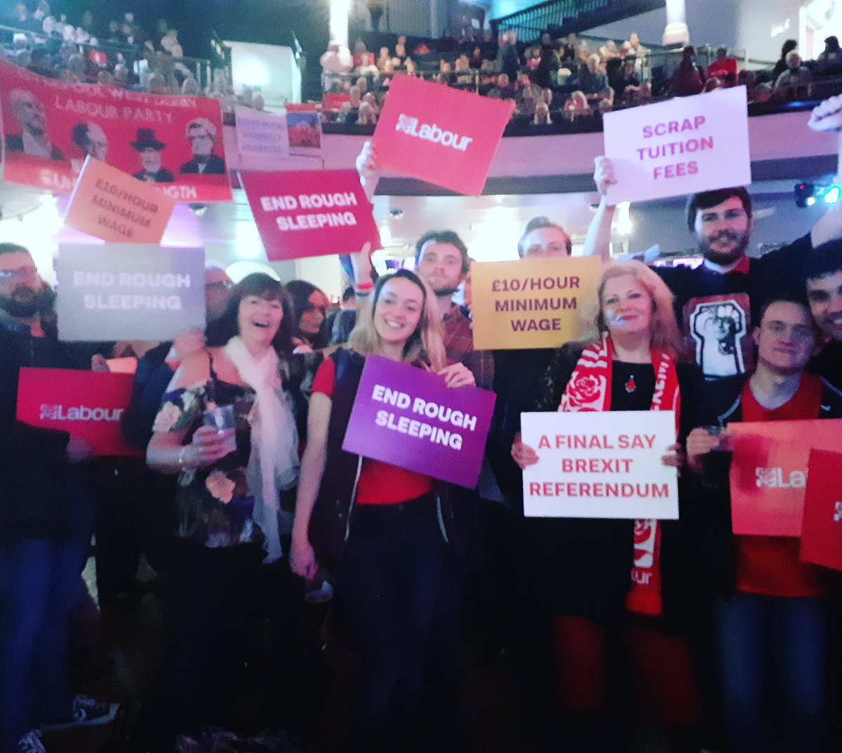 Mersey socialists out at the Corbs rally last night holding up labour pledges #JC4PM #GTTO