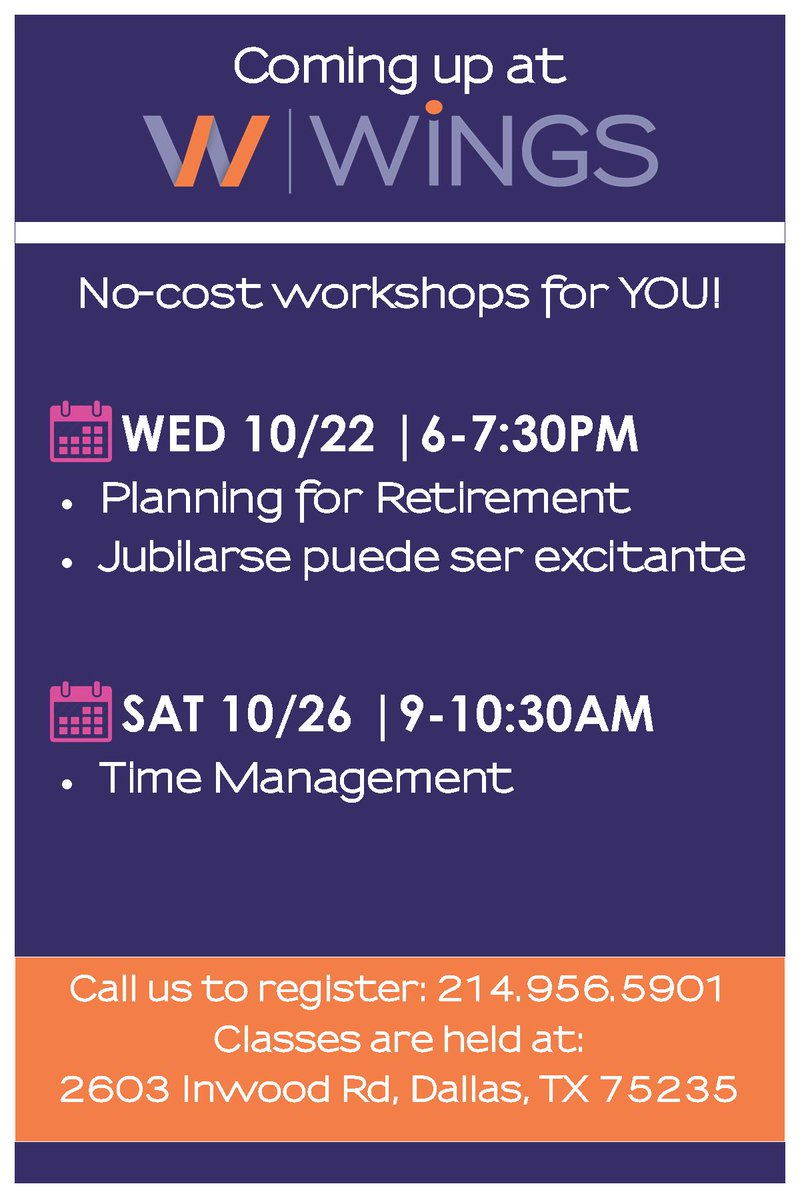test Twitter Media - All of our amazing classes & programs are free for the community! Ready to take the next step towards #retirement (offered in English & Spanish)? Also, master your TIME in our time management course! Register - call 214.956.5901.  Check back here Sundays for our weekly schedule! https://t.co/3WEWvxZcGO