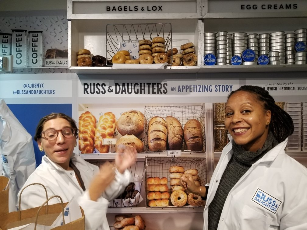 The awesome @Dr_CMGreer and @CBraccoli at @AJHSNYC Russ & Daughters exhibit @LoxPopuli