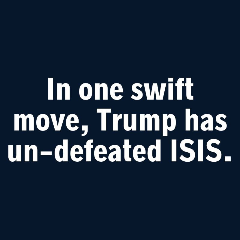 @realDonaldTrump Didn't get rid of ISIS in first 30 days? But you did unleash #ISISjailbreak? Thinking you're the enemy of America?