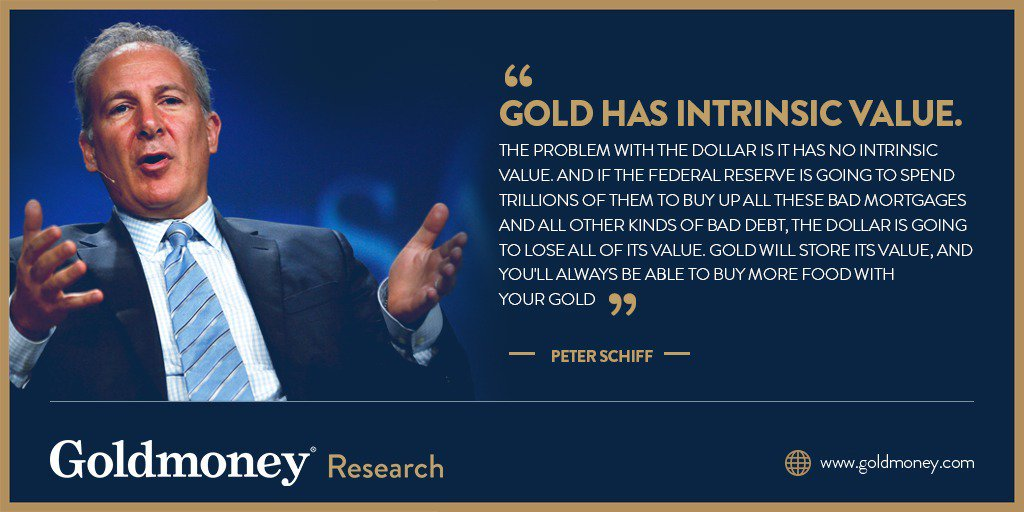 """""""Gold has intrinsic value. The problem with the dollar is it has no intrinsic value. And if the Fed is going to spend trillions of them to buy up all these bad mortgages and all other kinds of bad debt, the dollar is going to lose all of its value.""""  - Peter Schiff <br>http://pic.twitter.com/xo4rEJFCES"""