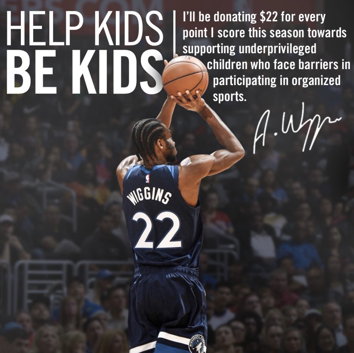 I'm proud to announce for the second year straight i'll be donating $22 for every point I score towards supporting underprivileged children who face barriers in participating in organized sports. The goal is and will always be to help kids be kids and play sports! https://t.co/PJHghnQBBv