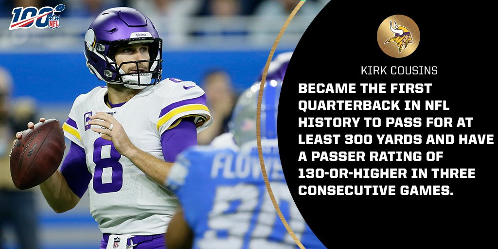 With 337 passing yards and a 141.4 passer rating today, @Vikings QB @KirkCousins8 became the first quarterback in @NFL history to have at least 300 passing yards and a passer rating of 130-or-higher in three consecutive games. #NFL100  #MINvsDET<br>http://pic.twitter.com/ICiYtKO7wr