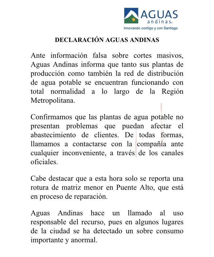 RT @aguas_andinas ¡Atención! Ante la información falsa que circula sobre supuestos cortes masivos, les compartimos nuestro comunicado oficial. Los trabajos en curso son puntuales y acotados y los pueden ver aquí: https://t.co/04C61LX9y9  Les recordamos hacer un uso responsable del agua.