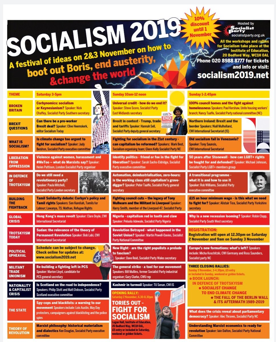 This looks VERY interesting. Covering all these issues: • Universal Credit • Defending LGBTQ+ rights • Kashmir & Tamil • Council Cuts • Reinvigorating Unions • Scottish Independence • A future with automation • Spy Cops • Climate Change #Socialism2019 looks awesome