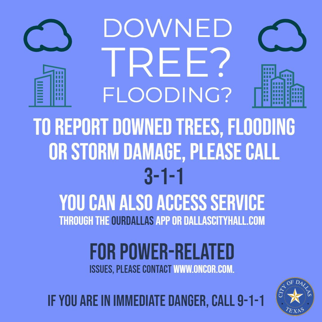 See below on how to report storm damage. @ChiefHallDPD