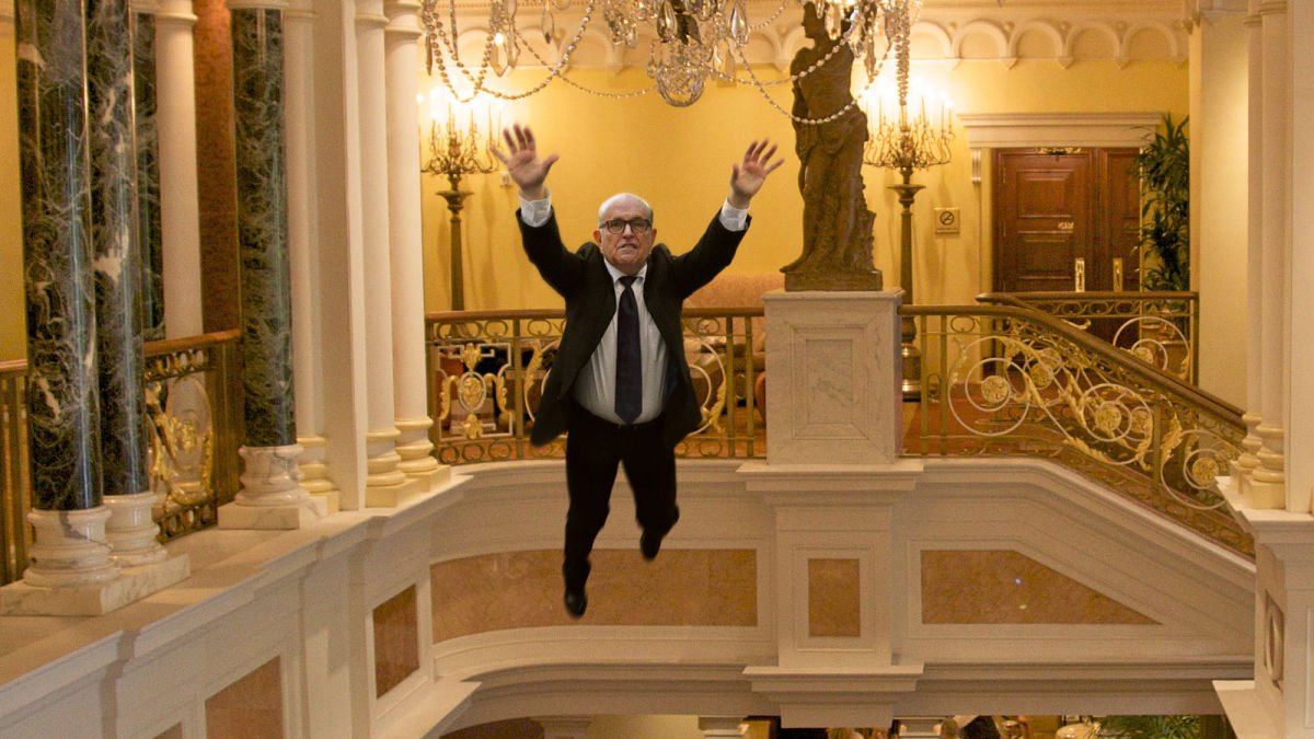 'You'll Never Take Me Alive!' Shouts Giuliani Jumping Onto Chandelier And Immediately Falling 3 Stories https://t.co/1QDsyAbQK3 https://t.co/GWXKRzCINn