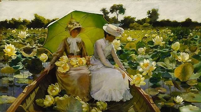 Charles C. Curran Lotus Lilies #painting #art