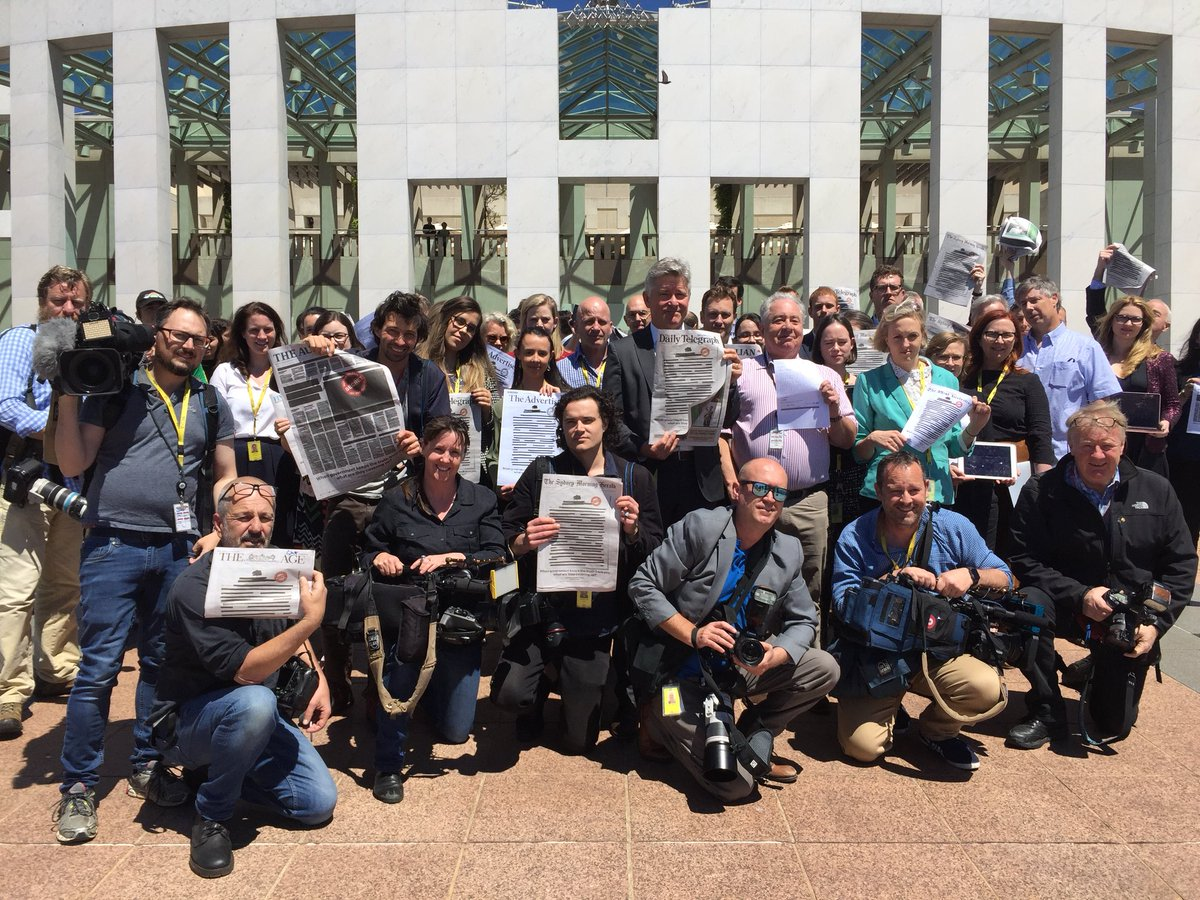After photographing the press gallery members, some of the photographers and camera operators join the group. #YourRightToKnow