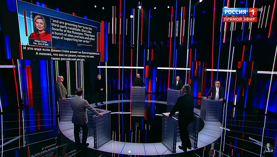 """Russia's state TV program hosted by notorious propagandist Vladimir Soloviev—who is close to Putin and has special access to the Kremlin—spends 30 minutes extolling Tulsi Gabbard, arguing she should be """"the face of the Democratic party"""" and obsessively bashing Hillary Clinton. <br>http://pic.twitter.com/wcyFbZCnAm"""