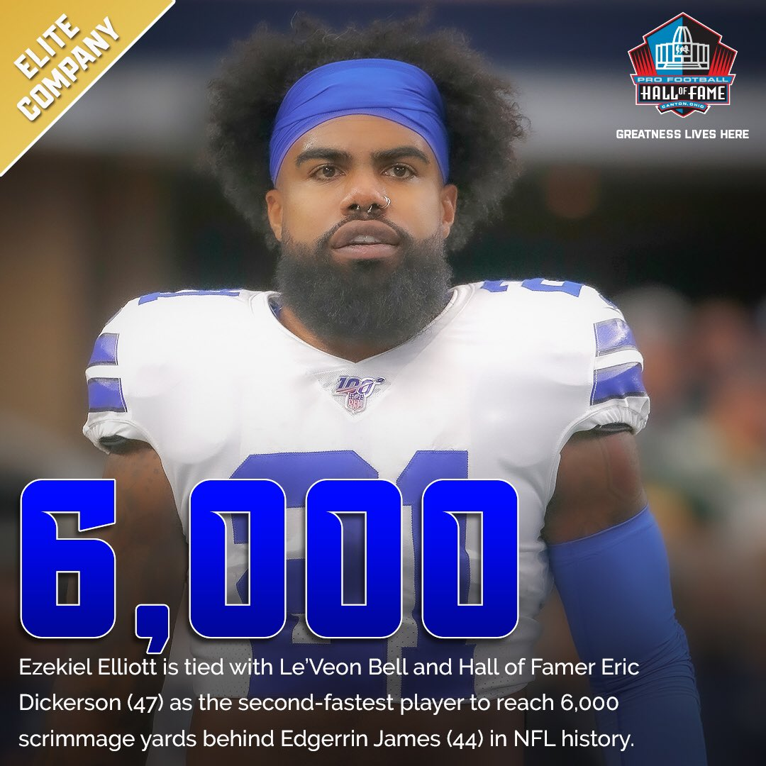 Milestone ✅ - @ezekielelliott has hit 6,000 career scrimmage yards. @dallascowboys   #DallasCowboys   #PHIvsDAL