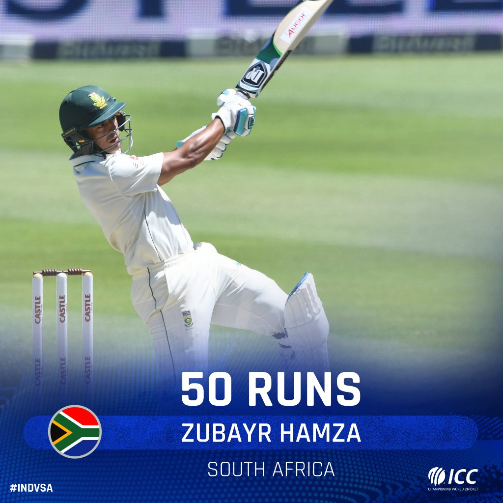 Zubayr Hamza brings up his maiden Test half-century off just 56 balls on day three of the Ranchi Test. He reaches the landmark in style, with a six! LIVE 👉 bit.ly/IndvsSA6