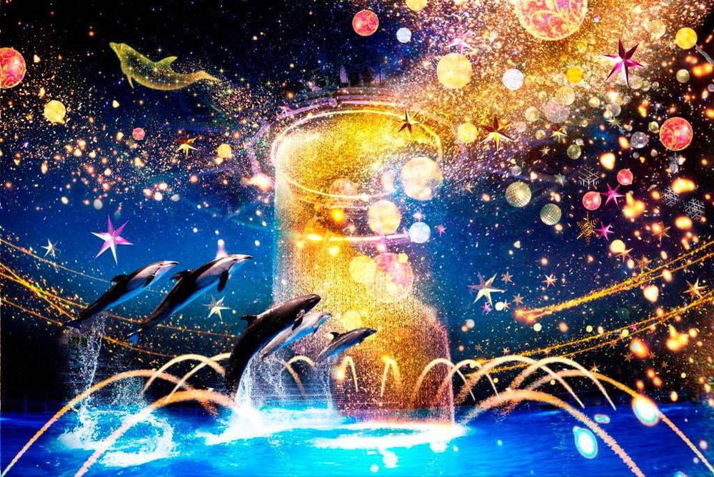 マクセル アクアパーク品川のクリスマス「スターアクアリウム」光と織りなすイルカパフォーマンスなど -