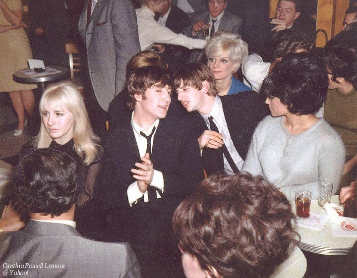 #JohnLennon and #RingoStarr with Cynthia at a party after the first appearance of #TheBeatles at The Ed Sullivan Show in New York City, 9th February 1964