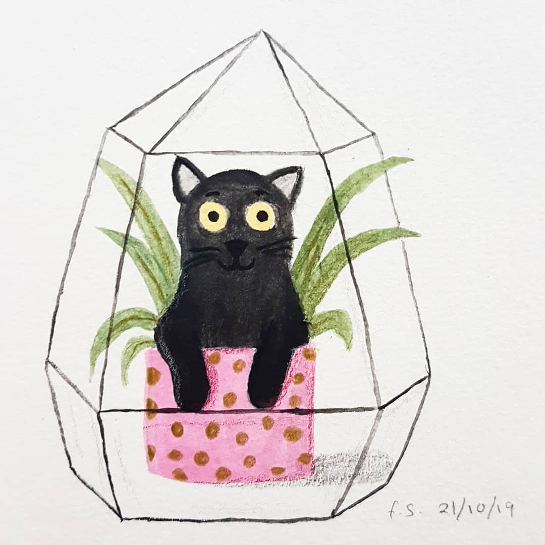 Catching up with #inktober and I used @viktorijasemj #inktoberday10 crystal prompt as inspiration. If I fit, I sits, right? #kidlitart #illustration #painting
