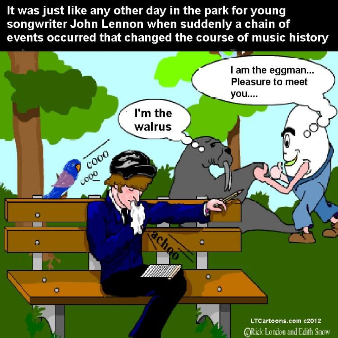 Young #JohnLennon Gets Inspired by @LTCartoons #walrus #eggman #lennon #beatles #thebeatles #parody #songwriting #songs #humor #funny #comics #cartoons #LTCartoons