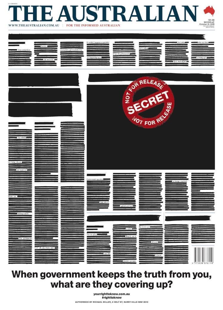מחאה מתואמת ומרשימה של כל עיתוני אוסטרליה נגד נסיונות של הממשל שם לפגוע בחופש בעיתונות ולהטיל עונשים על חושפי שחיתויות, לרבות פשיטות על מערכות השנה כדי לגלות מקורות. כל העיתונים השחירו את העמודים הראשיים שלהם הבוקר. סולידריות כזאת לא היתה מזיקה לנו כאן