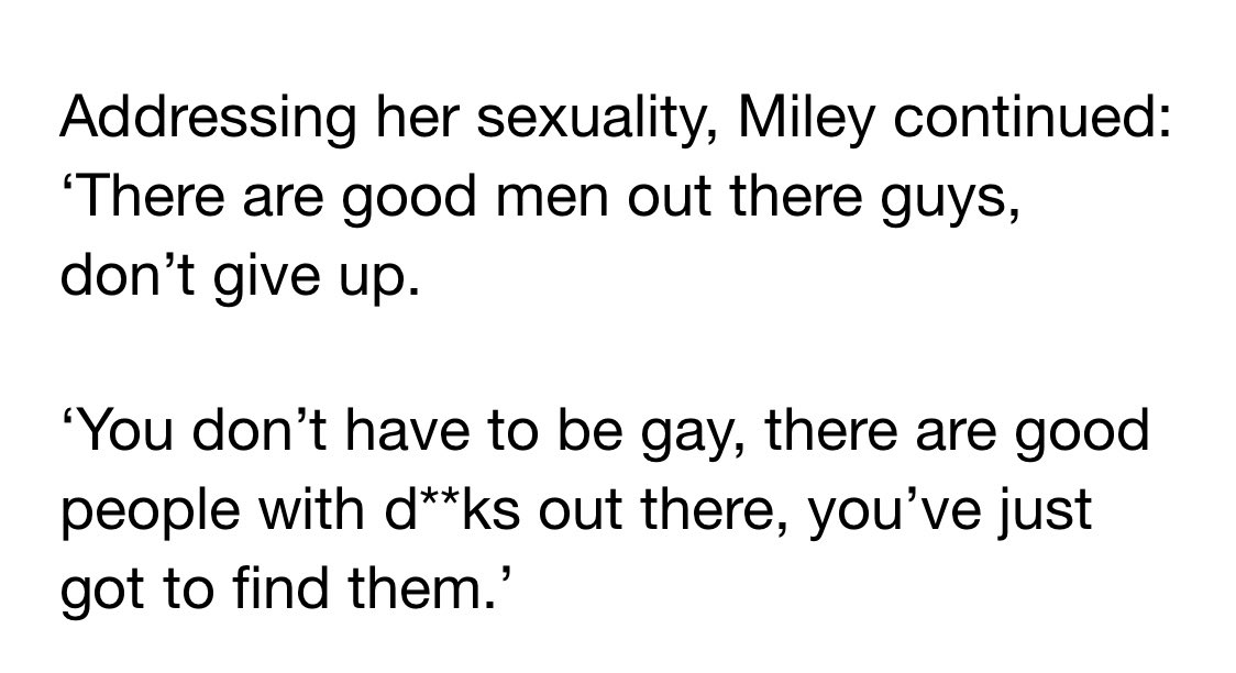 """Miley Cyrus Told Women They """"Don't Have to Be Gay"""" Because There Are """"Good Men Out There"""""""