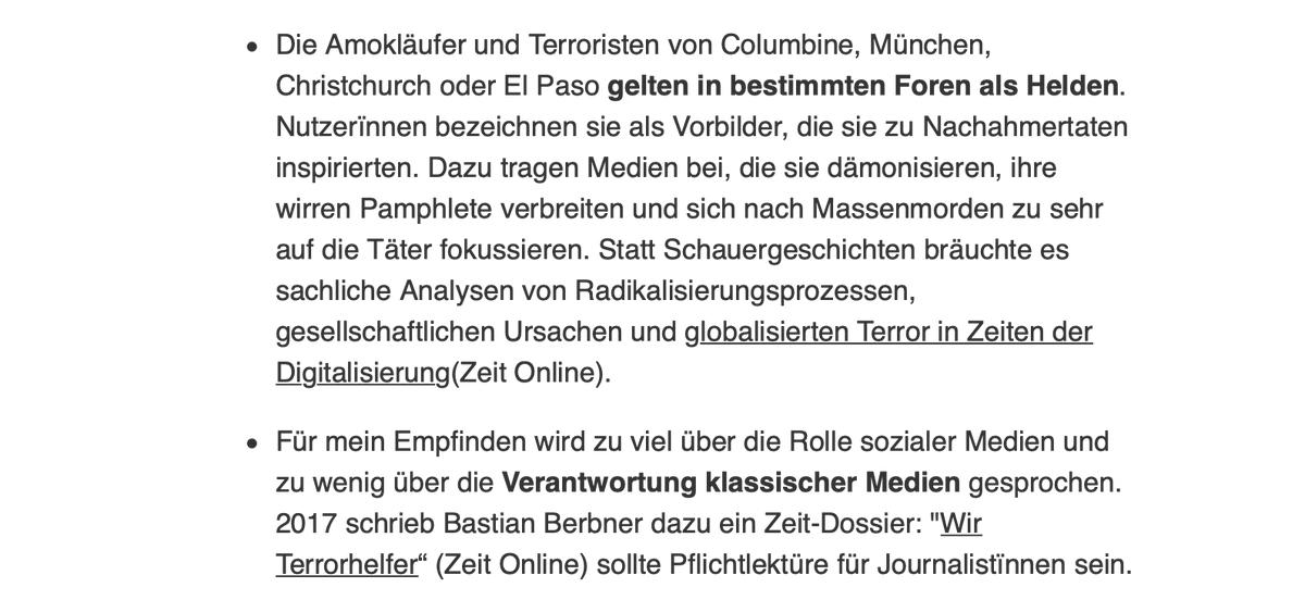 Das @smwatchblog / @SimonHurtz hat letzte Woche ebenfalls den Terroranschlag in #Halle thematisiert und abermals gute Schlussfolgerungen gezogen. Gründe für Radikalisierung sind zu komplex, als dass man nur eine Szene angucken könnte. Auch klassische Medien haben Verantwortung!