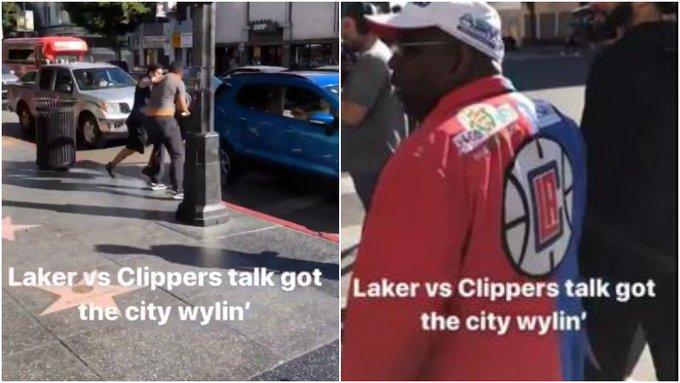 【影片】例行賽沒開始就打起來了!湖人快艇球迷街頭大打出手,前者被圍毆!