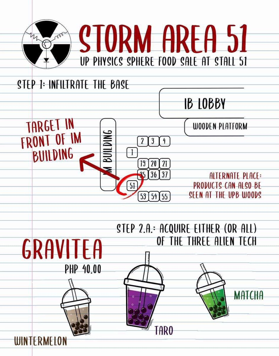 """""""Storm Area 51. They Can't Stop All of Us"""" Sphere invities all to our food sale at stall 51 located in front of the IM Building this October 22-24, 2019. Follow the steps stated in the photos and have a fun raiding experience.  P.S. Guys, tara naruto run. <br>http://pic.twitter.com/iN1nNZ5Q9t"""