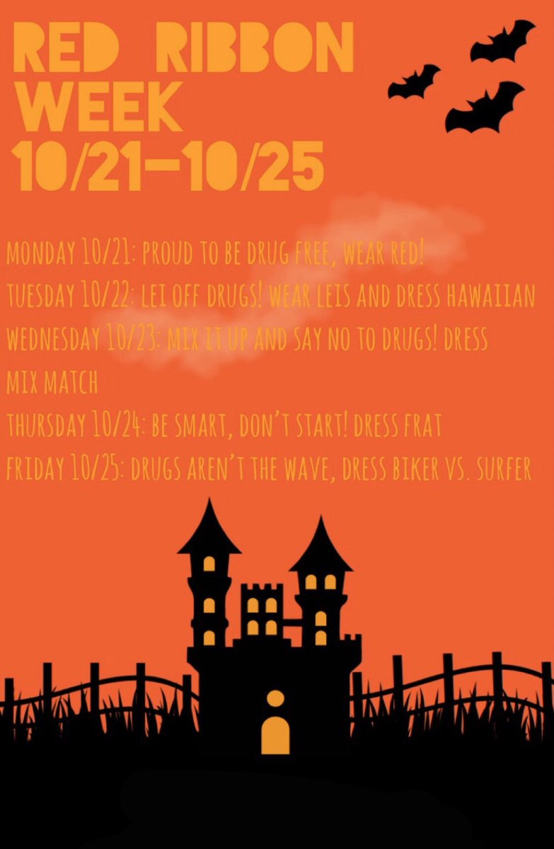 It's that time of October again! Red ribbon week starts today! Are you participating? 🦁❤️ #shslions #classof2020 #seniorszn #mbybob https://t.co/PKl5fmAtj2