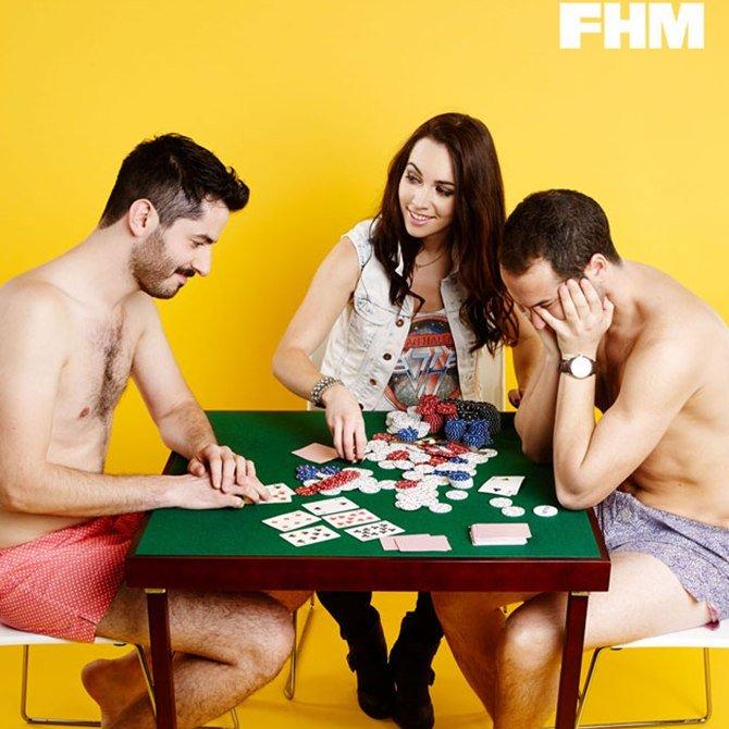 Men losing strip poker