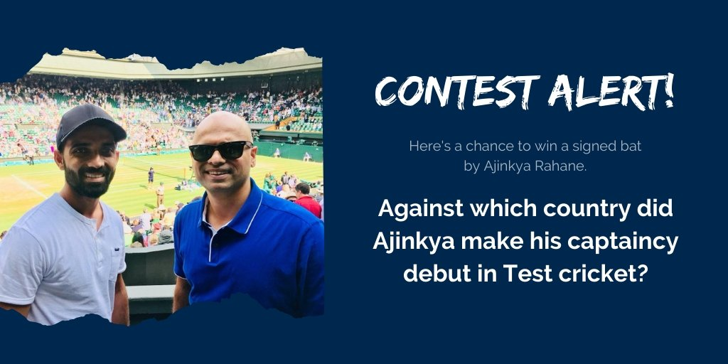 Against which country did Ajinkya Rahane make his captaincy debut in Test cricket?  Comment with your answers and win a signed bat by Jinks! <br>http://pic.twitter.com/TSJGgS33rs