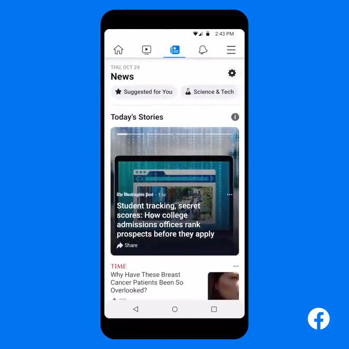 📰 Introducing Facebook News - a dedicated news tab starting to roll out today in the US