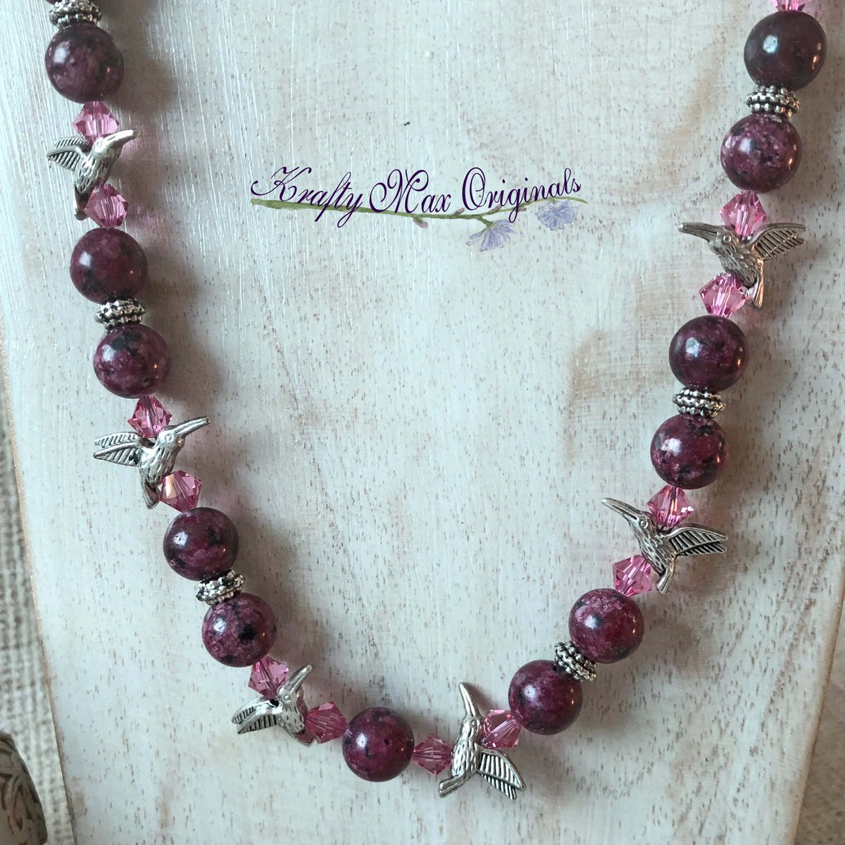 Burgundy Gemstone and Pink Swarovski Crystals Necklace Set with Hummingbirds (discounted from $53 down to $24)  #handmade #jewelry #buyhandmade #handmadelove #handcrafted #kraftymax #kmax #discount #sale #bargain #save #clearance