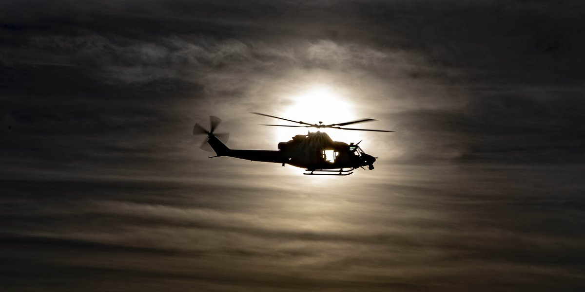 In the Dead of the Night A UH-1Y Venom aircraft assigned to Marine Aviation Weapons and Tactics Squadron One, conducts an assault support tactics exercise during Weapons and Tactics Instructor course 1-20 at Chocolate Mountain Aerial Gunnery Range, California.