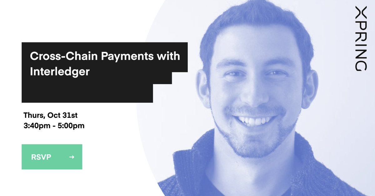 "Don't miss @_emschwartz ""Cross-Chain Payments with Interledger"" Workshop at #SFBW19 on Oct 31st at 3:40pm!   Learn more about the open protocol for payments across payment networks and how to start using @Interledger today!"