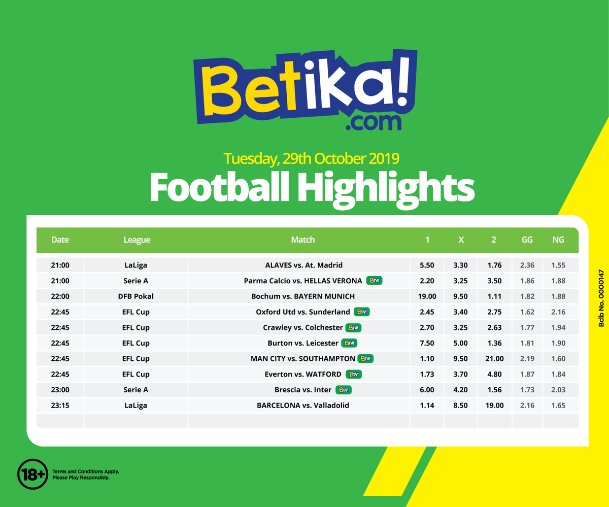 """Betika på Twitter: """"Changamkia a variety of matches kutoka EFL Cup, La Liga  and Serie A. 🔥🔥🔥 Cheki all the hot games lined up in the highlights  below! Do not miss a"""
