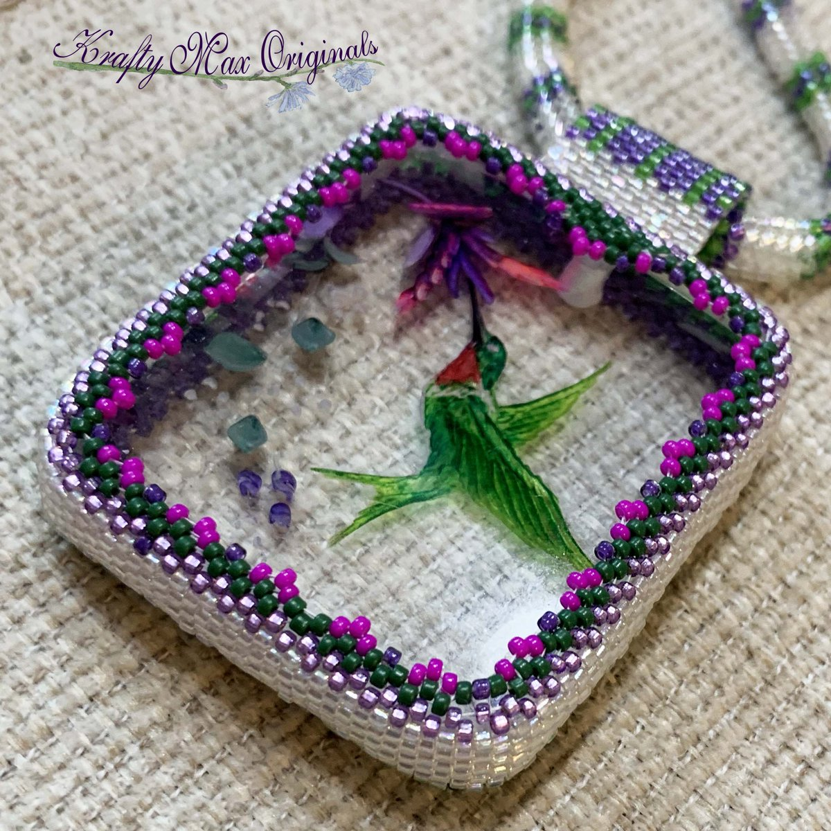 Ruby-throated Hummingbird Beadwoven Wearable Art Necklace $110  #beadwoven #wearableart #art #offloom #original #handmade #buyhandmade #handmadelove #handcrafted #kraftymax #kmax #peyote #herringbone #bezel #necklace