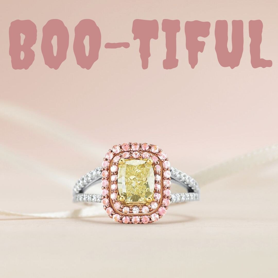 Fancy Colored Diamonds Vibrant yellows and pastel pinks  Vaughan's Jewelry & Fine Gifts, your Diamond Destination   #ShopVaughans #AntwerpDiamonds #FancyColoredDiamonds #EngagementRing #DoubleHalo #SayYES #DiamondDestination #Edenton #NC