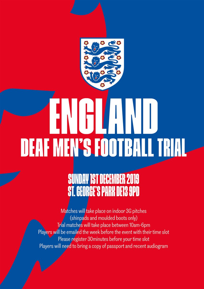 The @England #Deaf Mens team is inviting players to register for trials at @StGeorgesPark on Sunday 1 December. Follow the link below to register or email will.perkins@thefa.com for further information. 🔗 bit.ly/2MzcD4Q