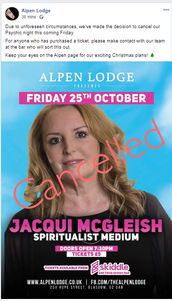Due to unforeseen circumstances, we've made the decision to cancel our Psychic night this coming Friday. Again, Facebook - the gift that keeps on giving... 😂😂😂