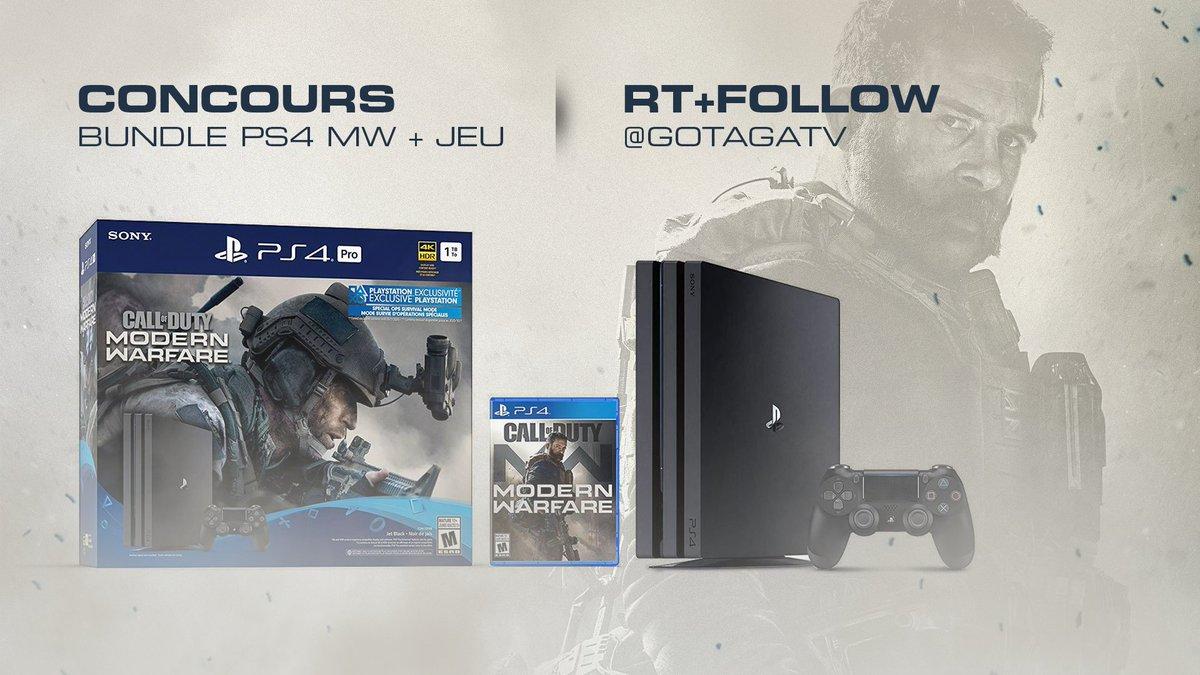 A l'occasion de la sortie du nouveau @CallofDutyFR on vous fait gagner un Bundle PS4 Pro #ModernWarfare ainsi que le jeu ! #MWLiveBattle   #RT & #Follow @GotagaTV pour tenter ta chance !   TAS le 31/10 https://t.co/KubmTXzT7R