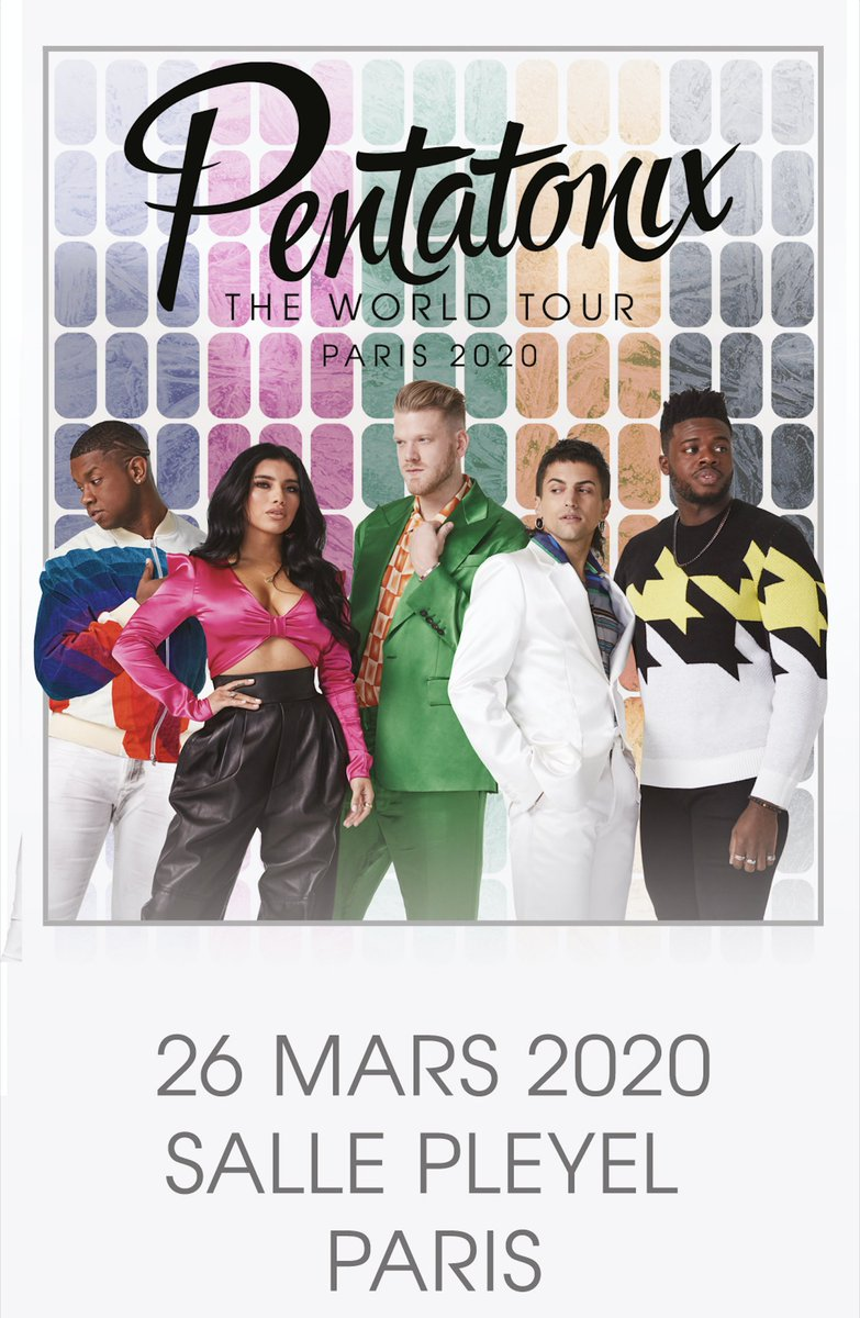 [ANNONCE]  La tournée mondiale de @PTXofficial passera le 26 mars 2020 à la @sallepleyel  !!  MISE EN VENTE VENDREDI 25 OCTOBRE À 10H ICI :  >> https://t.co/N2hUC02kM9 PLUS D'INFOS SUR : https:/