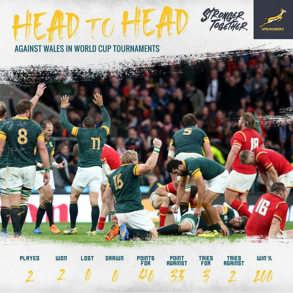 Head to Head  How matches have gone in previous World Cups  #StrongerTogether  #RWC2019  #WALvRSA<br>http://pic.twitter.com/fCUMuXIGyq